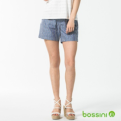 bossini女裝-休閒條紋短褲01藍