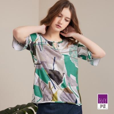 ILEY伊蕾 撞色色塊印花長版七分袖上衣(綠)1211281402