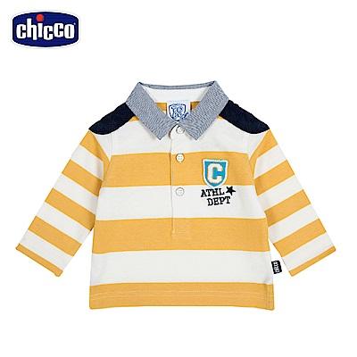 chicco-To Be Baby-寬條有領長袖上衣-白(2-4歲)