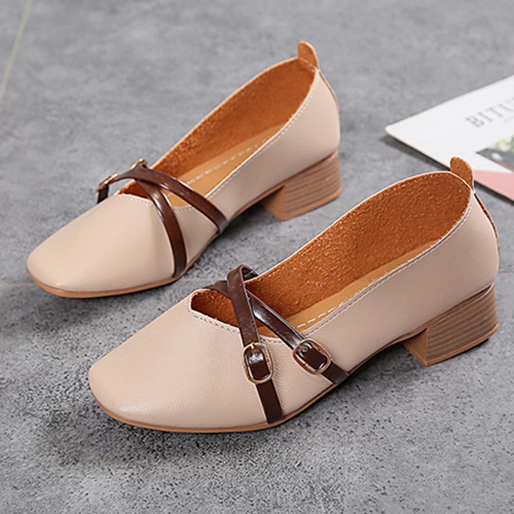 KEITH-WILL時尚鞋館 韓流簡約淑女粗跟鞋-米白色