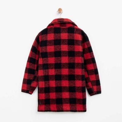女裝Roots- 格紋高領夾克-紅色
