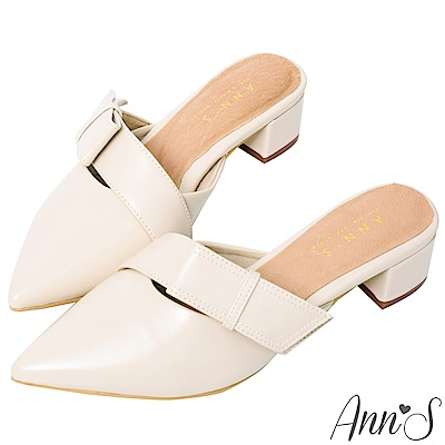 Ann'S氣質蔓生-不破內裡方結鞋帶顯瘦粗跟尖頭穆勒鞋 -白
