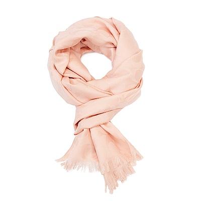COACH 滿版LOGO羊毛混絲素色披肩圍巾 粉橘
