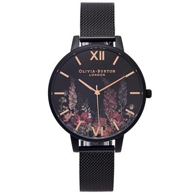 OLIVIA BURTON  暗夜花香款米蘭錶帶手錶(OB16AD29)-黑面/38mm