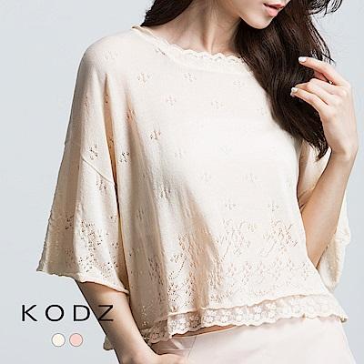 東京著衣-KODZ 鏤空織紋拼接蕾絲針織上衣(共二色)