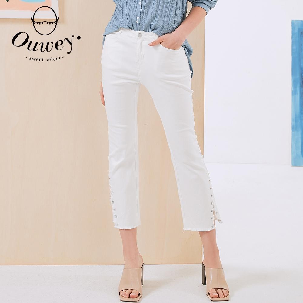 OUWEY歐薇 高含棉彈性鬆緊牛仔微喇叭褲(白)3212026418