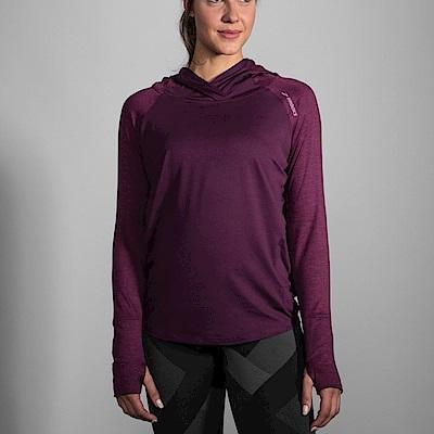 BROOKS 女 奔跑連身帽上衣 葡萄酒紅 (221284557)