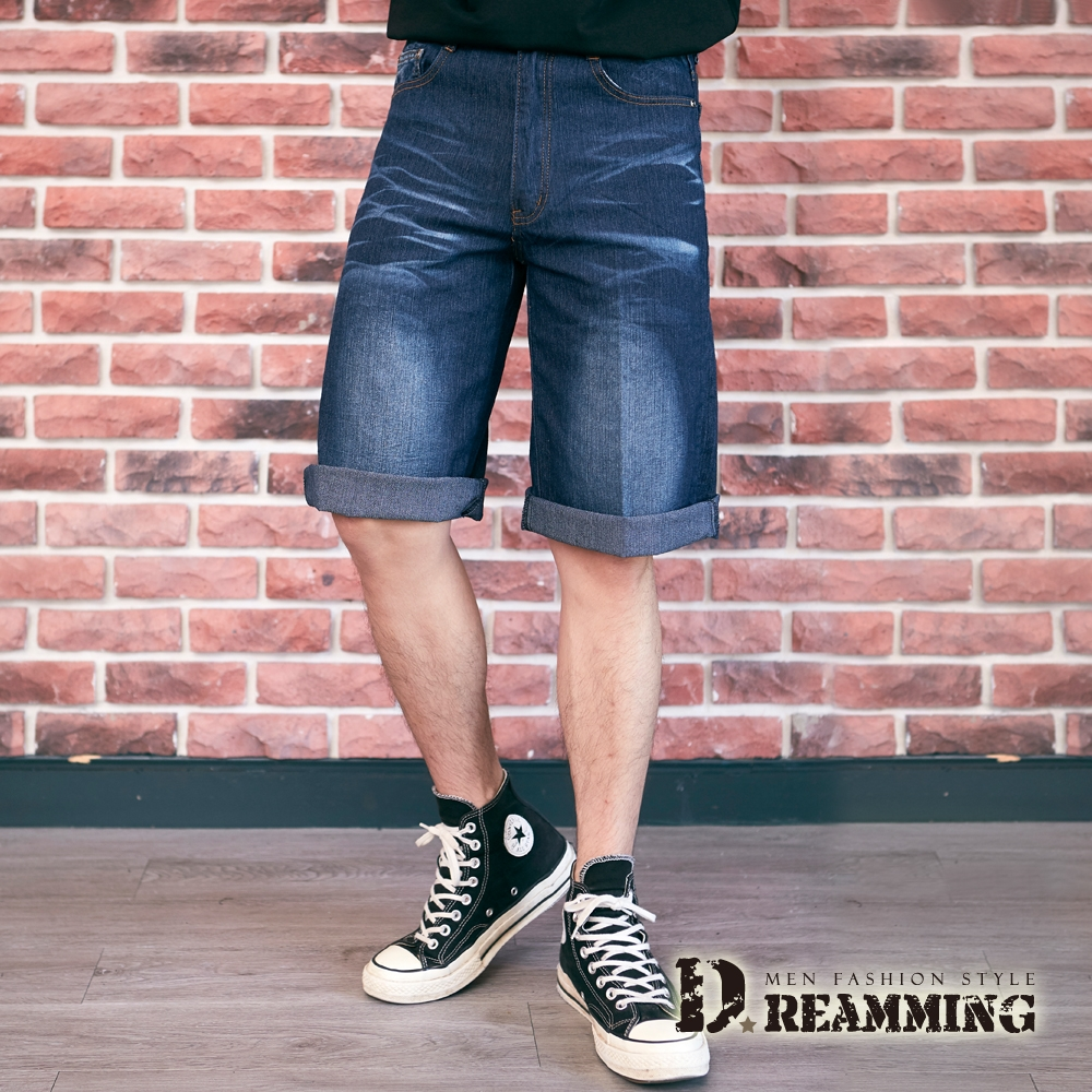Dreamming 閃電刺繡刷白伸縮牛仔七分短褲 彈力 透氣-深藍