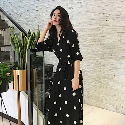 IMStyle 法式復古點點連身洋裝(黑色)