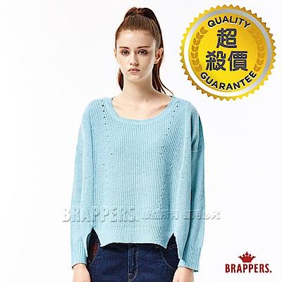 BRAPPERS 女款 方型剪裁落肩長袖線衫-淺藍