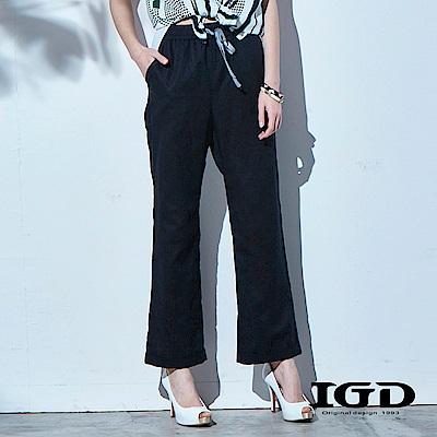 IGD英格麗 棉麻大直筒休閒西裝褲-黑色