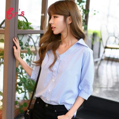 【brs】韓系藍色Y字領條紋襯衫