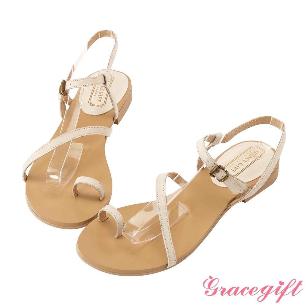 Grace gift-真皮斜帶套趾涼鞋 米白