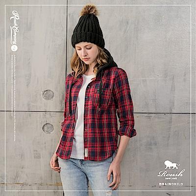 ROUSH 女生法蘭絨格紋連帽襯衫(2色)