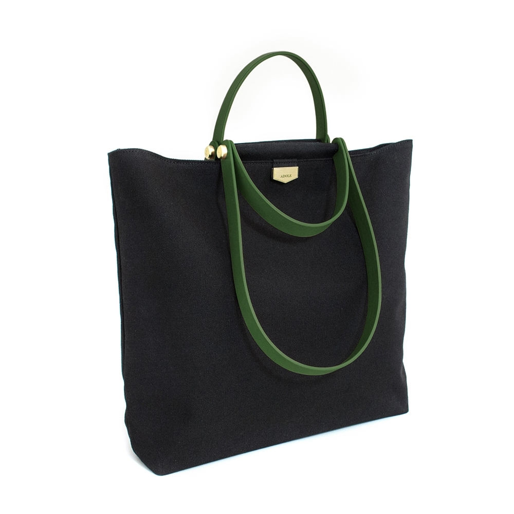 【IBAOBAO愛包包】ADOLE-ADay皮革組合包/黑帆布包+綠色提把