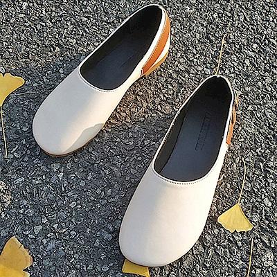 韓國KW美鞋館 賣瘋了歐美玩酷平底鞋-米白色