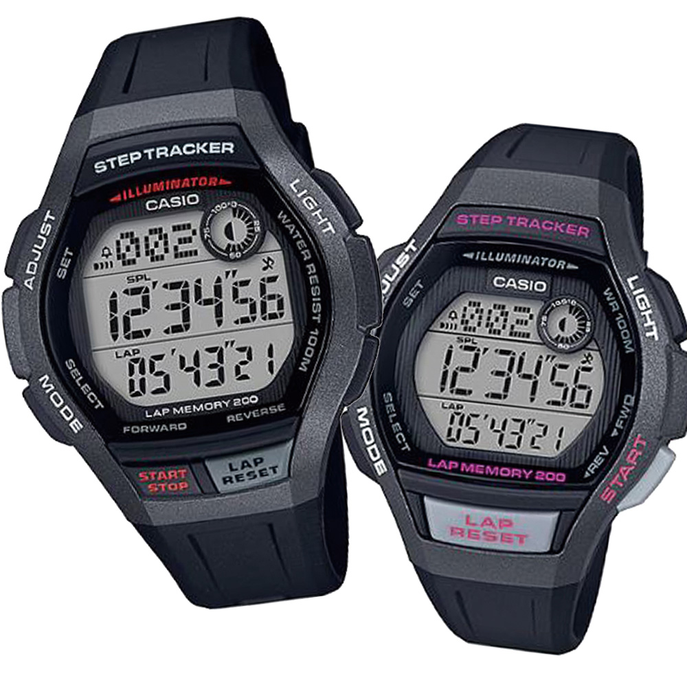 CASIO樂活首選輕量計步慢跑運動組合錶(WS-2000H-1+LWS-2000H-1)黑