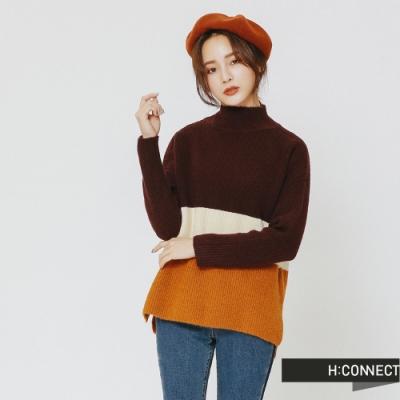 H:CONNECT 韓國品牌 女裝 -撞色高領針織上衣-酒紅(快)