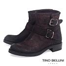 Tino Bellini義大利進口啞光麂皮雙釦帶低跟短靴_咖紅