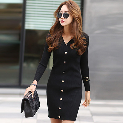 正韓 V領排扣包臀針織洋裝 (黑色)-N.C21
