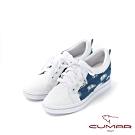 CUMAR悠遊輕井澤 - 牛仔異材質結合內增高綁帶休閒鞋-白