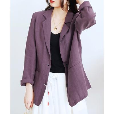 亞麻西裝外套薄版長袖西服上衣三色可選-設計所在