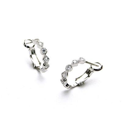 STORY故事銀飾-氣質時尚耳環-Hoop晶鋯耳環