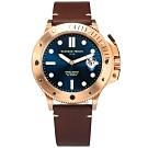 GIORGIO FEDON 1919 自手動上鍊 真皮機械錶-藍x玫瑰金x咖啡/45mm