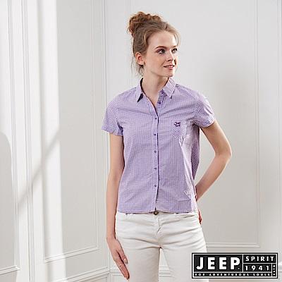 JEEP 女裝 造型緹花格紋短袖襯衫-紫