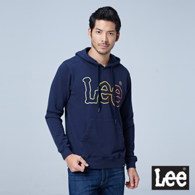 Lee 彩色大LOGO連帽厚T 男 深藍