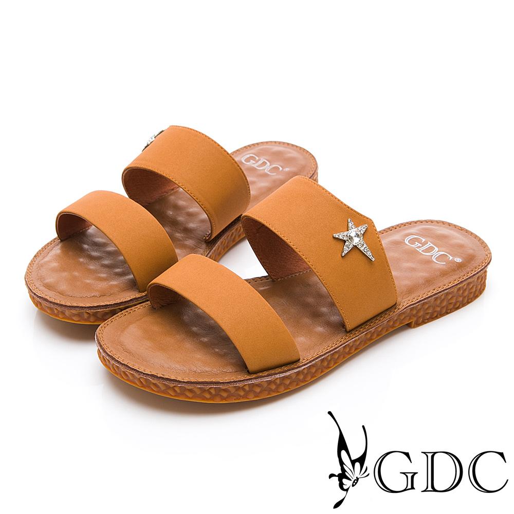 GDC-超Q軟底星星扣飾小清新可愛一字拖鞋春夏-土黃色
