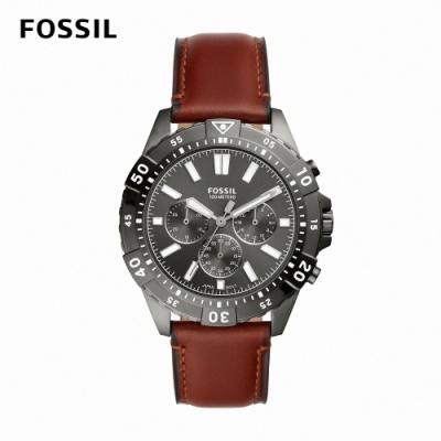FOSSIL Garrett 紳士三眼時尚男錶 棕色真皮錶帶 44MM FS5770