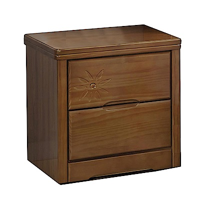品家居 紐斯頓1.7尺實木二抽床頭櫃-50x43x54cm-免組