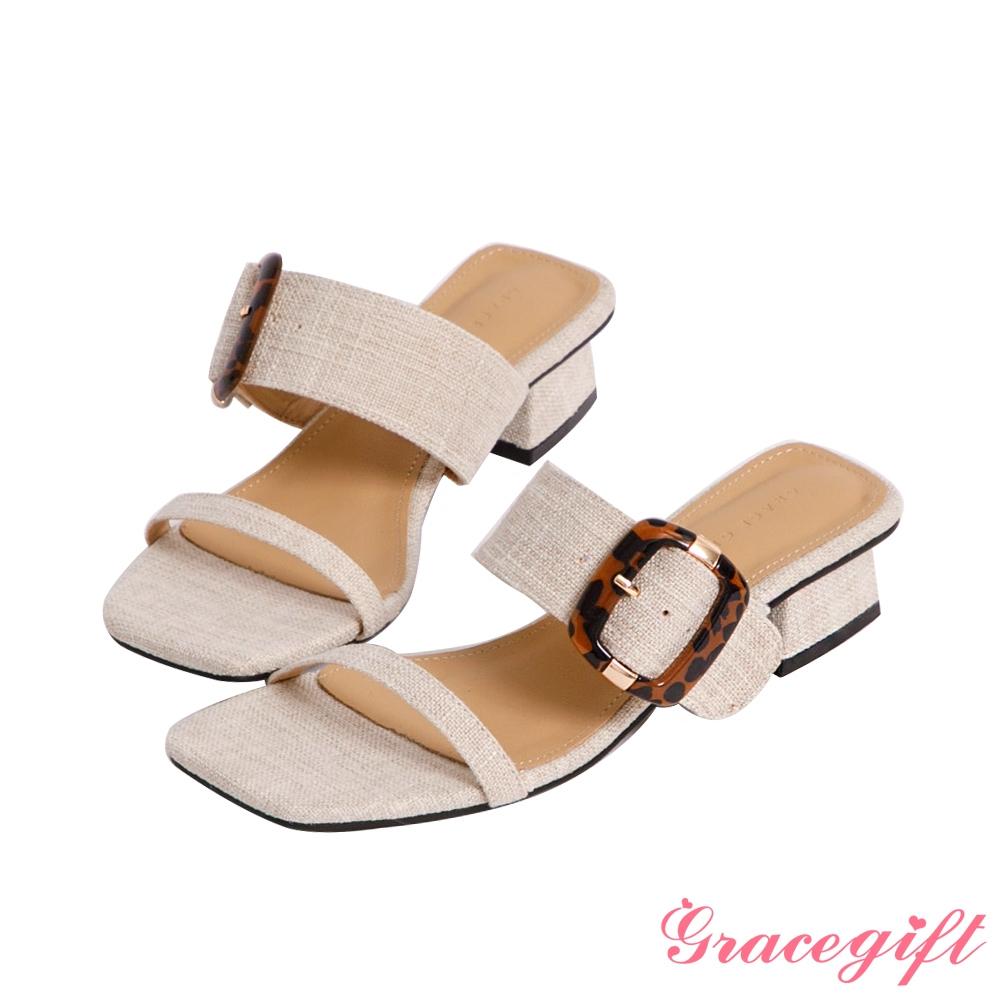 Grace gift-雙帶方釦低跟涼拖鞋 米白