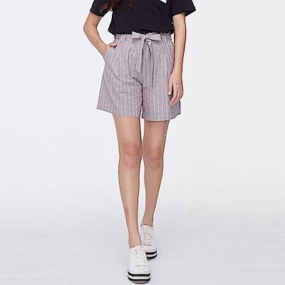 bossini女裝-棉麻寬版短褲可可