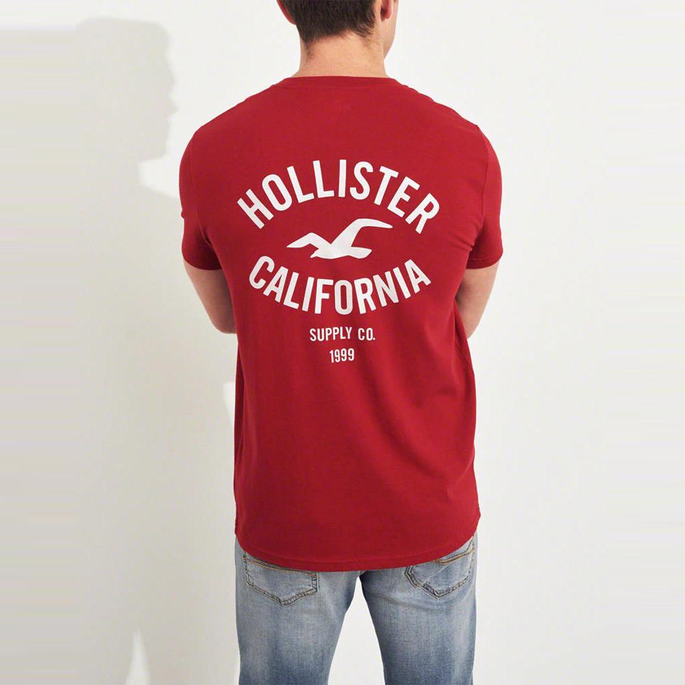 HCO Hollister 海鷗 經典印刷文字大海鷗短袖T恤-紅色