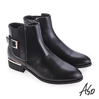 A.S.O 質感嚴選 輕鬆穿脫真皮美靴 黑