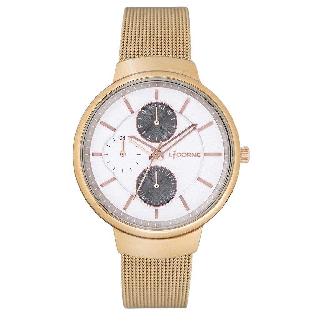 LICORNE 力抗錶 知性高雅三眼手錶-玫瑰金x白/35mm @ Y!購物