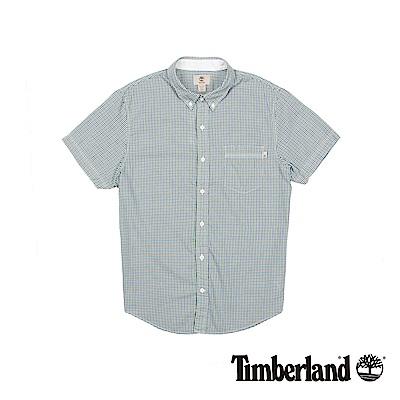 Timberland 男款藍綠細格紋修身短袖襯衫 | A1T42B19