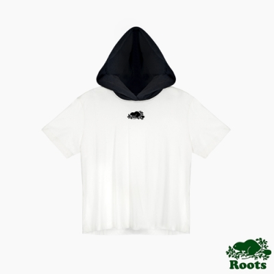 Roots 女裝- 椒鹽灰系列 經典LOGO連帽短袖上衣-白色