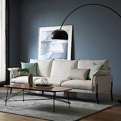 hoi! 輕奢現代可拆洗北歐三人布沙發(附抱枕)RAG1K-米白色 (H014207770)