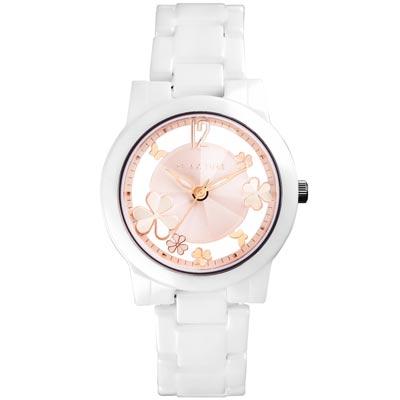 RELAX TIME Garden系列 鏤空陶瓷腕錶 RT-80-3 白X粉紅/38mm