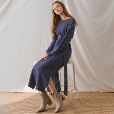 AIR SPACE LADY 優雅絨面長袖寬鬆洋裝(附腰帶)(藍)