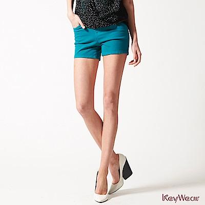 KeyWear奇威名品    時尚休閒棉短褲-石墨綠色