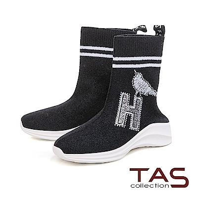 TAS 造型刺繡水鑽高筒運動休閒鞋-時尚黑