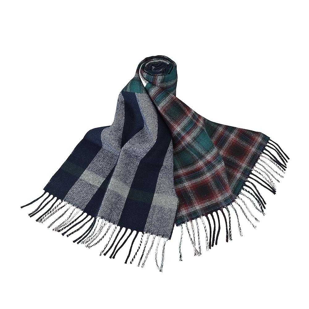 BURBERRY英倫風拼接格紋設計羊毛圍巾(海軍藍x黑白格紋)