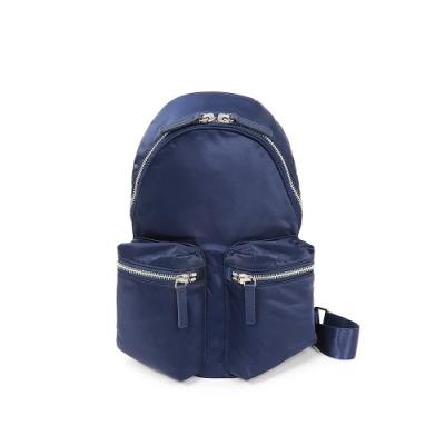 agnes b. Voyage 防潑水尼龍雙口袋後背包 (小) (深藍)