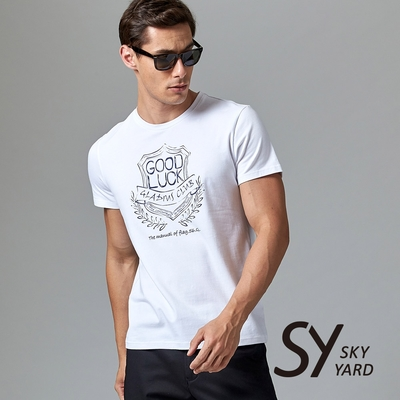 【GABBIANO】短袖圓領GOOD LUCK美式印花圓領T恤-白色
