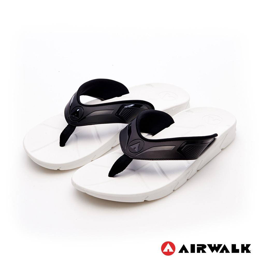 【AIRWALK】QQ彈力AB拖男款舒適吸震耐磨止滑排水人字拖-白色