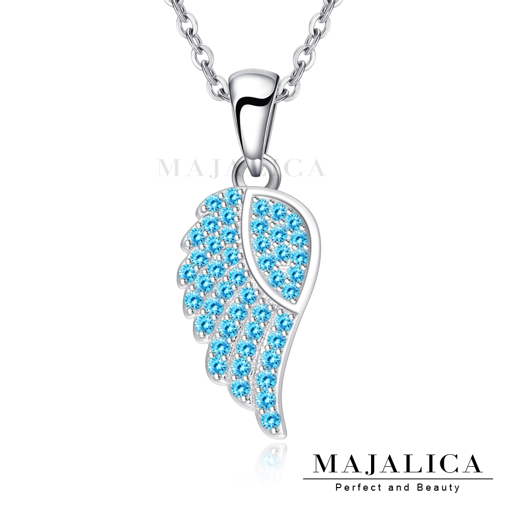 Majalica鎖骨鍊925純銀吊墜項鍊天使之翼女鍊 銀色藍鋯 單個價格(MIT)